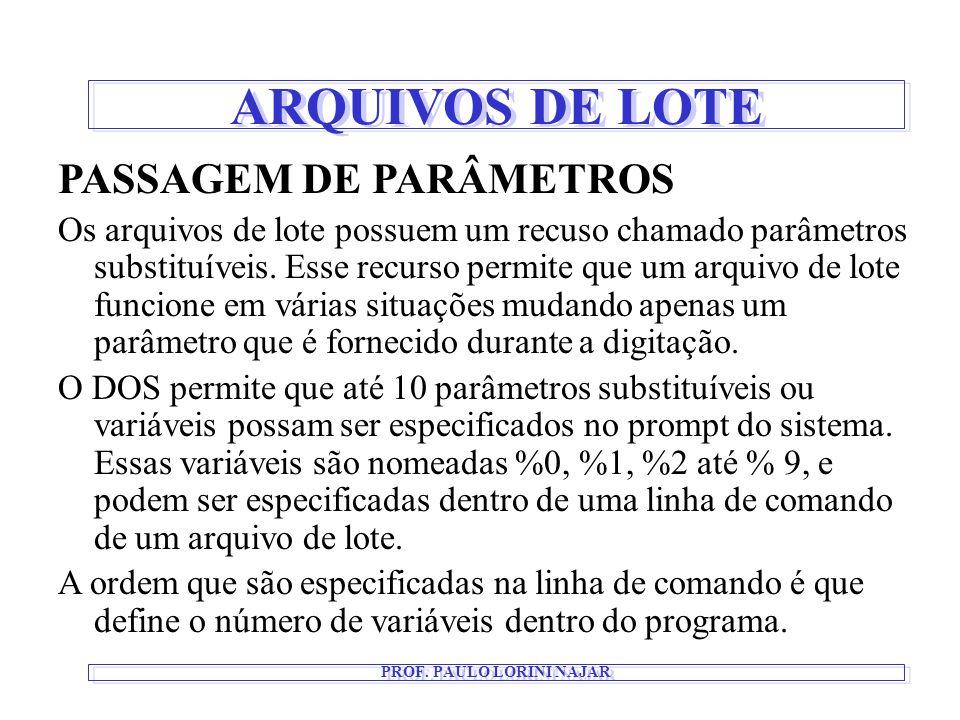 ARQUIVOS DE LOTE PROF. PAULO LORINI NAJAR PASSAGEM DE PARÂMETROS Os arquivos de lote possuem um recuso chamado parâmetros substituíveis. Esse recurso