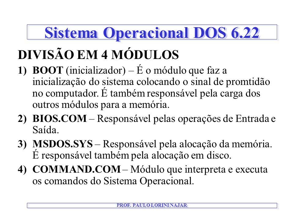 Sistema Operacional DOS 6.22 PROF. PAULO LORINI NAJAR DIVISÃO EM 4 MÓDULOS 1)BOOT (inicializador) – É o módulo que faz a inicialização do sistema colo