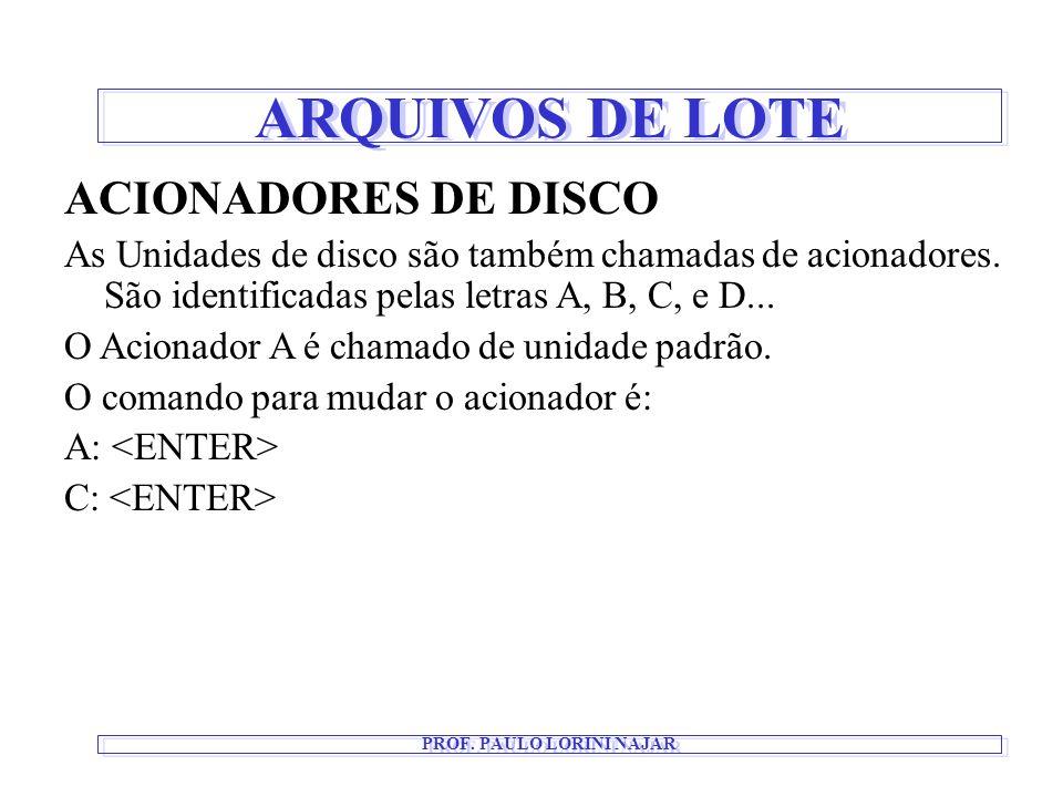 ARQUIVOS DE LOTE PROF. PAULO LORINI NAJAR ACIONADORES DE DISCO As Unidades de disco são também chamadas de acionadores. São identificadas pelas letras