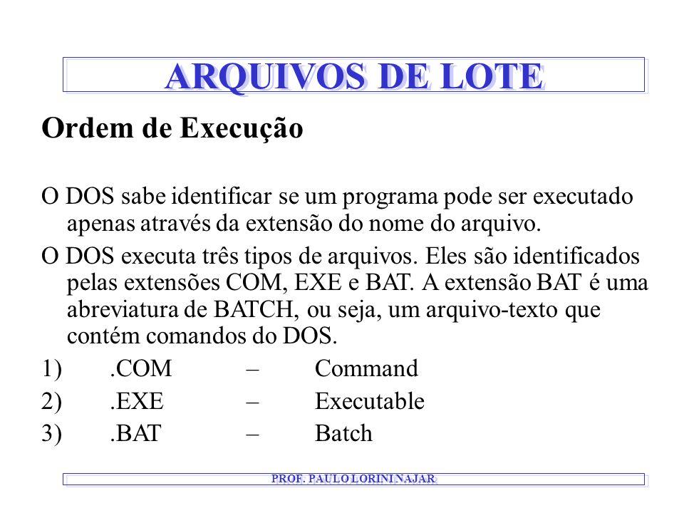 ARQUIVOS DE LOTE PROF. PAULO LORINI NAJAR Ordem de Execução O DOS sabe identificar se um programa pode ser executado apenas através da extensão do nom