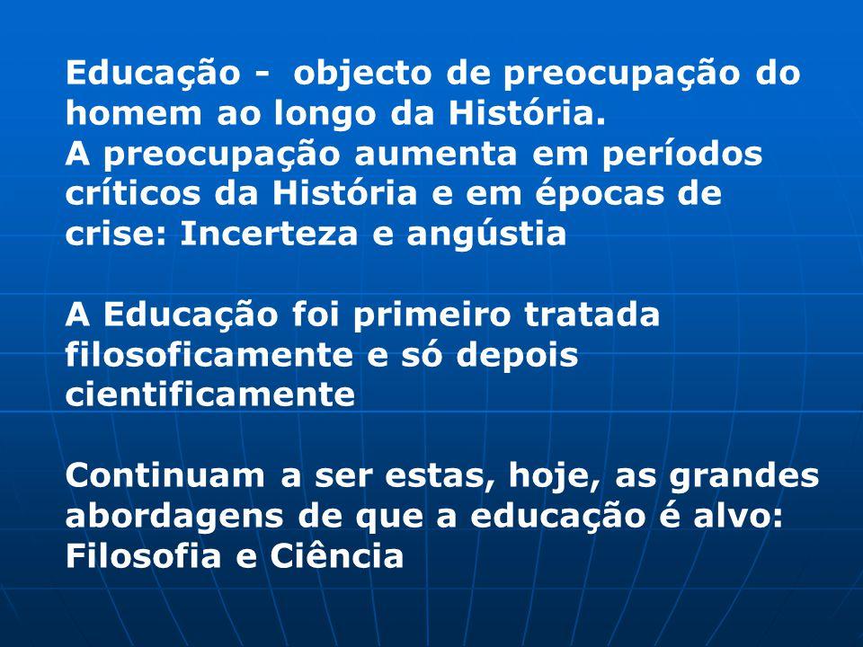 Educação - objecto de preocupação do homem ao longo da História.