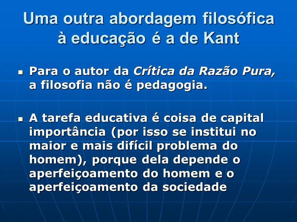 Uma outra abordagem filosófica à educação é a de Kant Para o autor da Crítica da Razão Pura, a filosofia não é pedagogia. Para o autor da Crítica da R