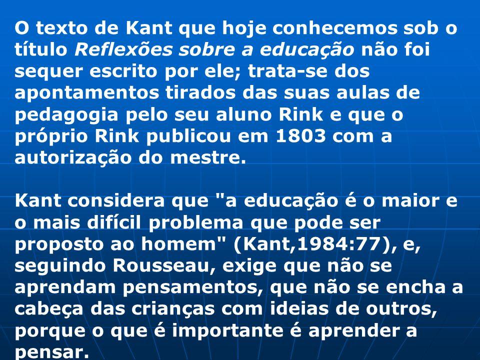 O texto de Kant que hoje conhecemos sob o título Reflexões sobre a educação não foi sequer escrito por ele; trata-se dos apontamentos tirados das suas aulas de pedagogia pelo seu aluno Rink e que o próprio Rink publicou em 1803 com a autorização do mestre.