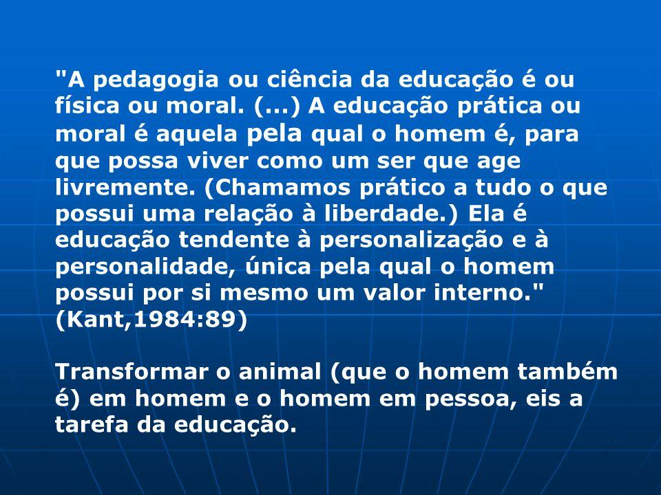 A pedagogia ou ciência da educação é ou física ou moral.