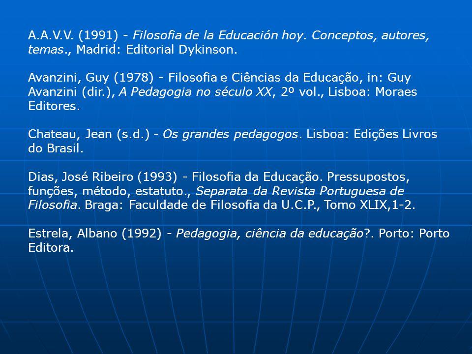 A.A.V.V. (1991) - Filosofia de la Educación hoy. Conceptos, autores, temas., Madrid: Editorial Dykinson. Avanzini, Guy (1978) - Filosofia e Ciências d
