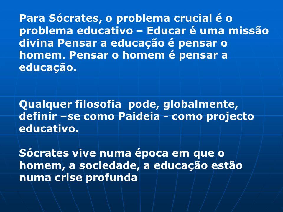 Para Sócrates, o problema crucial é o problema educativo – Educar é uma missão divina Pensar a educação é pensar o homem.