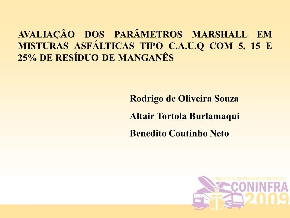 AVALIAÇÃO DOS PARÂMETROS MARSHALL EM MISTURAS ASFÁLTICAS TIPO C.A.U.Q COM 5, 15 E 25% DE RESÍDUO DE MANGANÊS Rodrigo de Oliveira Souza Altair Tortola