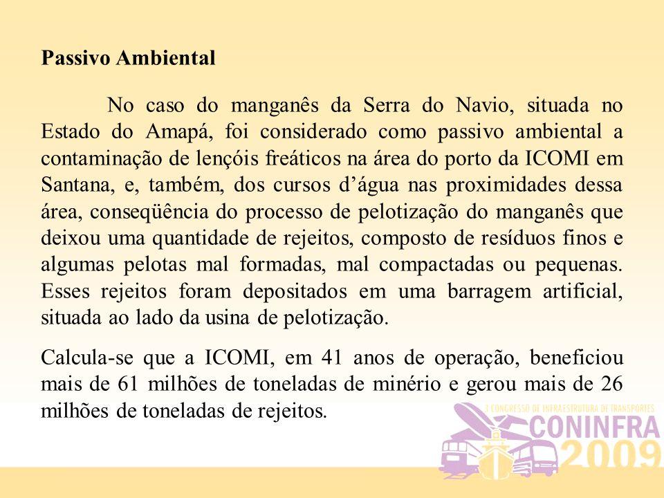 Passivo Ambiental No caso do manganês da Serra do Navio, situada no Estado do Amapá, foi considerado como passivo ambiental a contaminação de lençóis