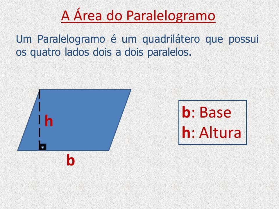 A Área do Paralelogramo b h b: Base h: Altura b Perceba que o Paralelogramo pode ser transformado em um Retângulo, com a mesma base e a mesma altura do Paralelogramo.