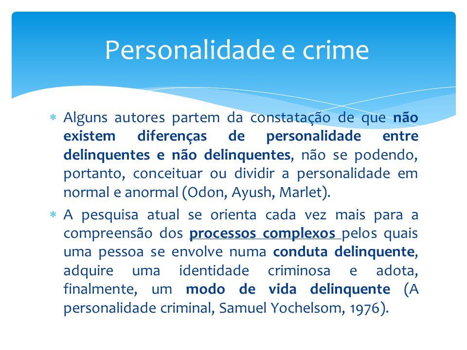  Alguns autores partem da constatação de que não existem diferenças de personalidade entre delinquentes e não delinquentes, não se podendo, portanto, conceituar ou dividir a personalidade em normal e anormal (Odon, Ayush, Marlet).