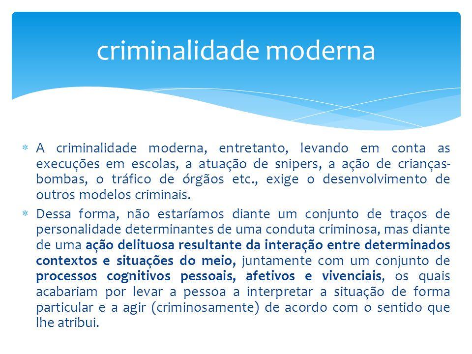  A criminalidade moderna, entretanto, levando em conta as execuções em escolas, a atuação de snipers, a ação de crianças- bombas, o tráfico de órgãos etc., exige o desenvolvimento de outros modelos criminais.