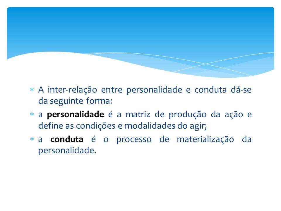  A inter-relação entre personalidade e conduta dá-se da seguinte forma:  a personalidade é a matriz de produção da ação e define as condições e modalidades do agir;  a conduta é o processo de materialização da personalidade.