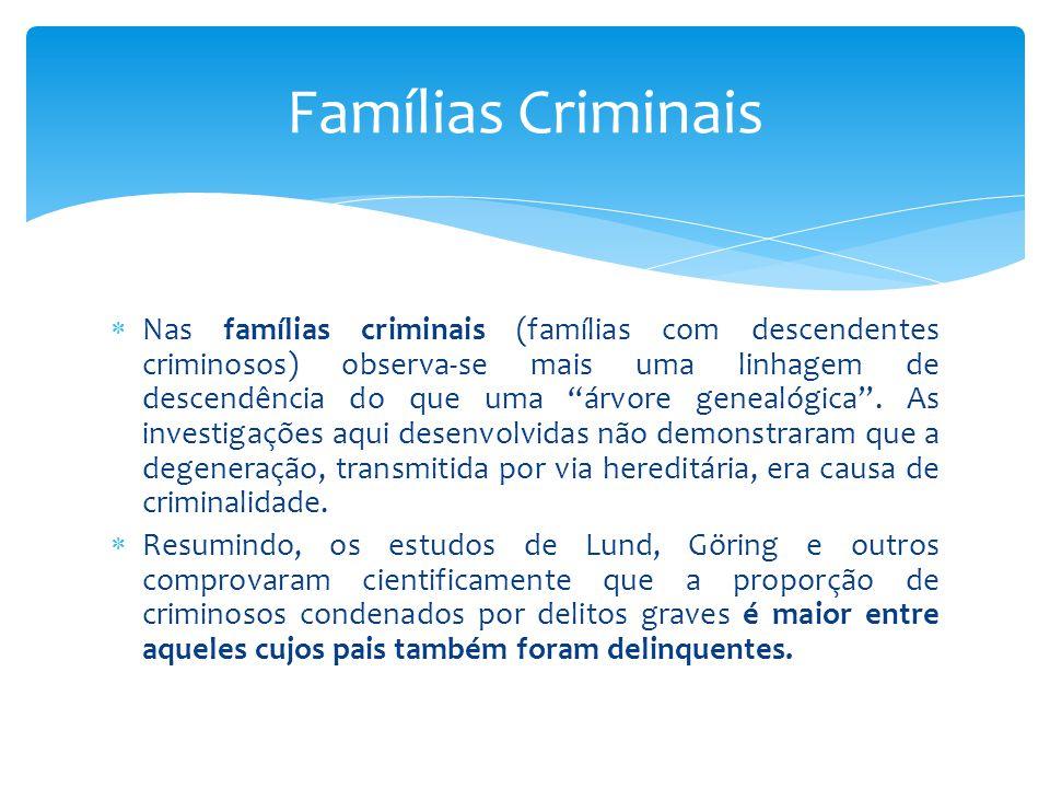  Nas famílias criminais (famílias com descendentes criminosos) observa-se mais uma linhagem de descendência do que uma árvore genealógica .