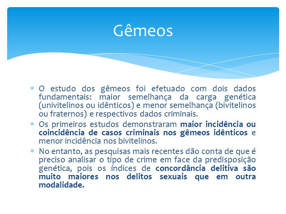  O estudo dos gêmeos foi efetuado com dois dados fundamentais: maior semelhança da carga genética (univitelinos ou idênticos) e menor semelhança (bivitelinos ou fraternos) e respectivos dados criminais.