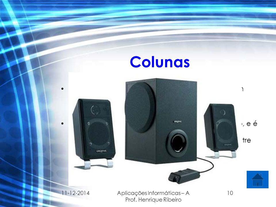 11-12-2014 Aplicações Informáticas – A Prof. Henrique Ribeiro 10 Colunas É um transdutor electromecânico que converte um sinal eléctrico no som. É o e