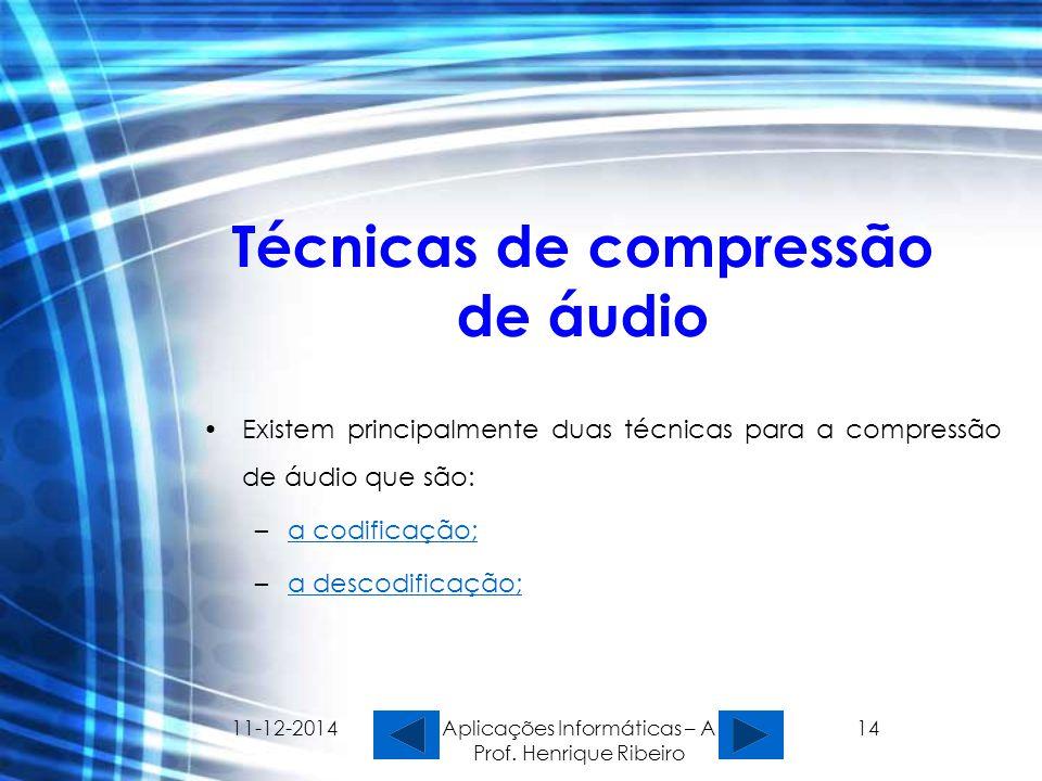 11-12-2014 Aplicações Informáticas – A Prof. Henrique Ribeiro 14 Técnicas de compressão de áudio Existem principalmente duas técnicas para a compressã