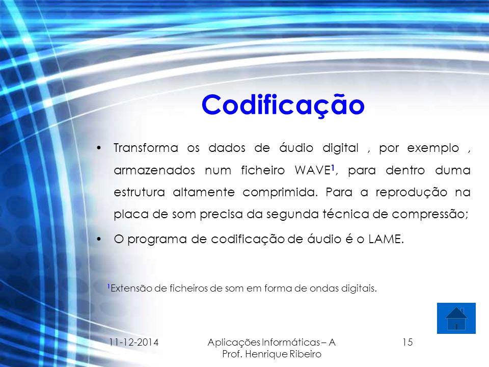 11-12-2014 Aplicações Informáticas – A Prof. Henrique Ribeiro 15 Codificação Transforma os dados de áudio digital, por exemplo, armazenados num fichei