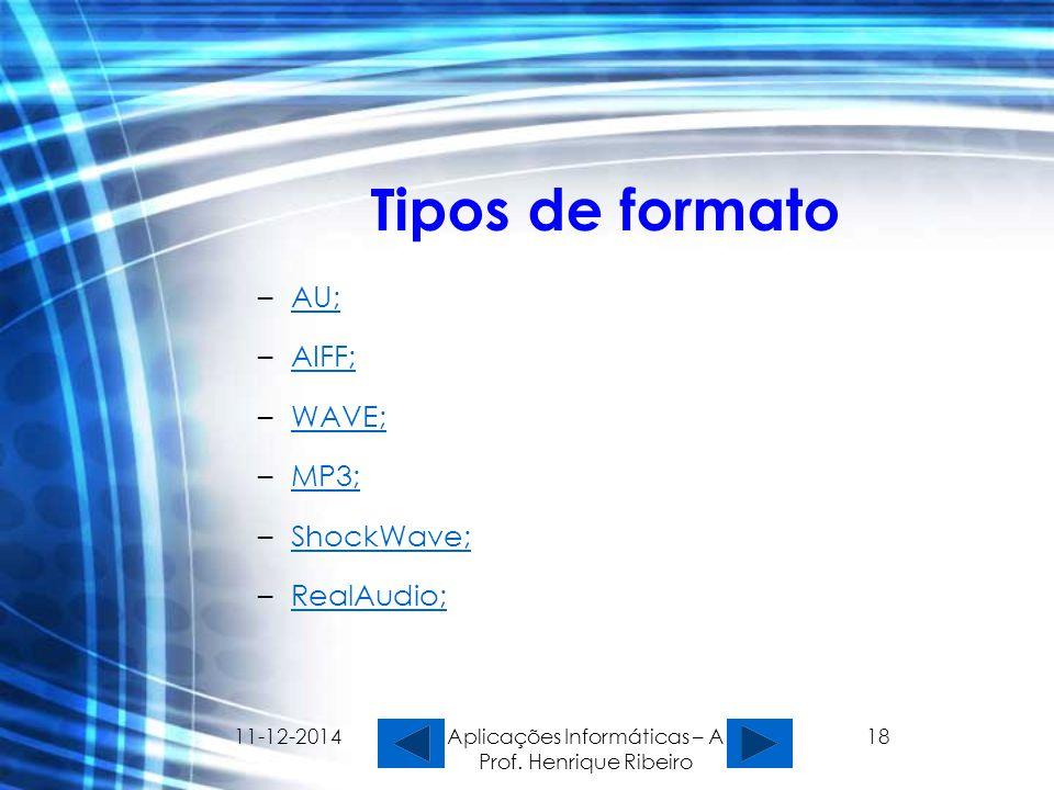 11-12-2014 Aplicações Informáticas – A Prof. Henrique Ribeiro 18 Tipos de formato –AU;AU; –AIFF;AIFF; –WAVE;WAVE; –MP3;MP3; –ShockWave;ShockWave; –Rea