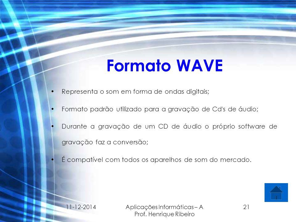 11-12-2014 Aplicações Informáticas – A Prof. Henrique Ribeiro 21 Formato WAVE Representa o som em forma de ondas digitais; Formato padrão utilizado pa