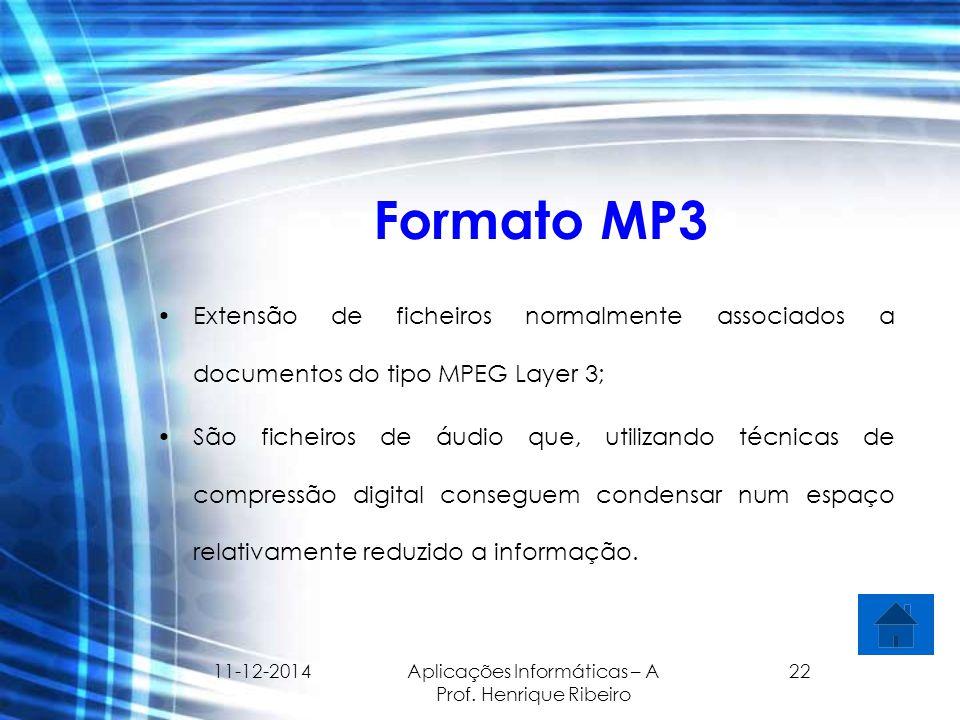 11-12-2014 Aplicações Informáticas – A Prof. Henrique Ribeiro 22 Formato MP3 Extensão de ficheiros normalmente associados a documentos do tipo MPEG La