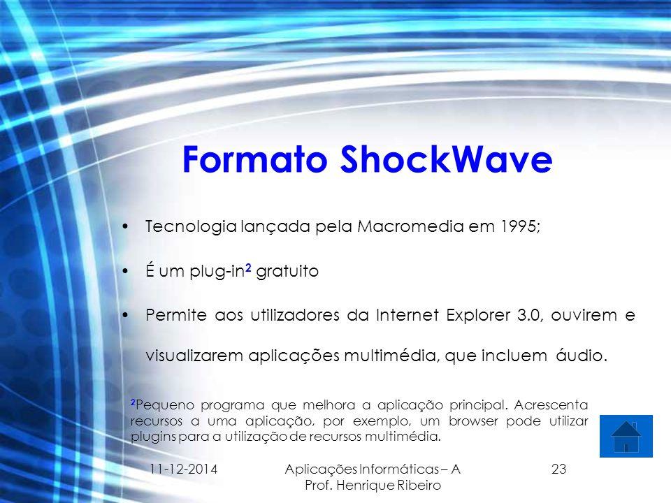 11-12-2014 Aplicações Informáticas – A Prof. Henrique Ribeiro 23 Formato ShockWave Tecnologia lançada pela Macromedia em 1995; É um plug-in 2 gratuito