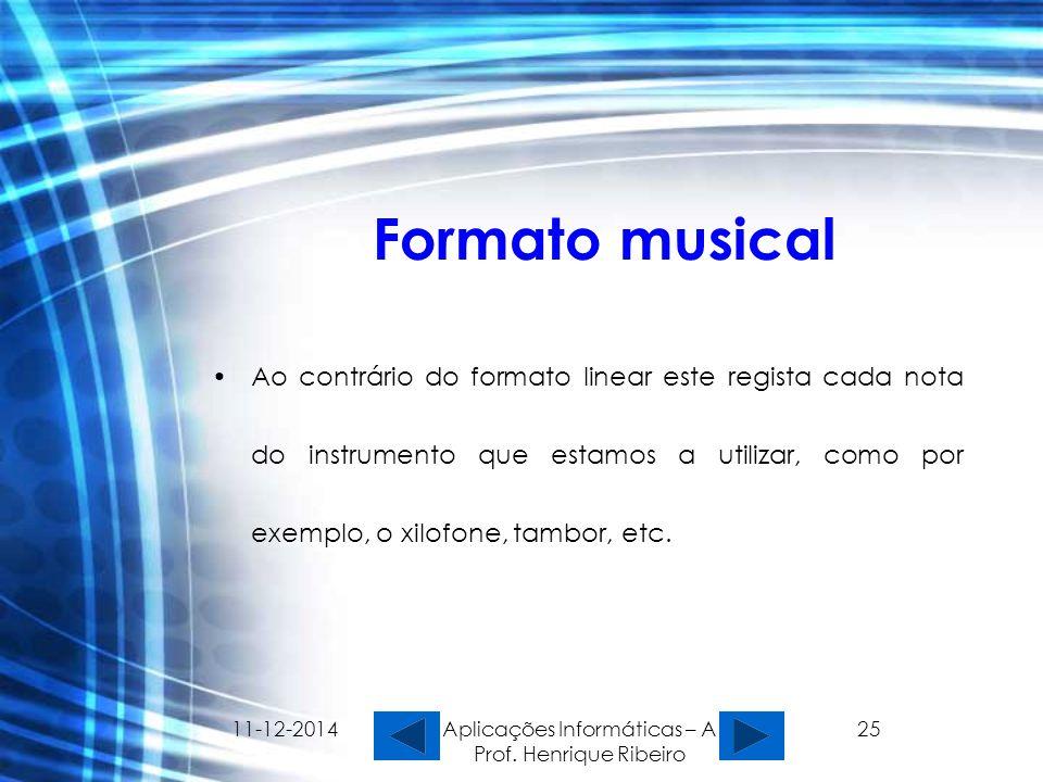 11-12-2014 Aplicações Informáticas – A Prof. Henrique Ribeiro 25 Formato musical Ao contrário do formato linear este regista cada nota do instrumento