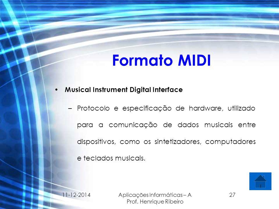 11-12-2014 Aplicações Informáticas – A Prof. Henrique Ribeiro 27 Formato MIDI Musical Instrument Digital Interface –Protocolo e especificação de hardw