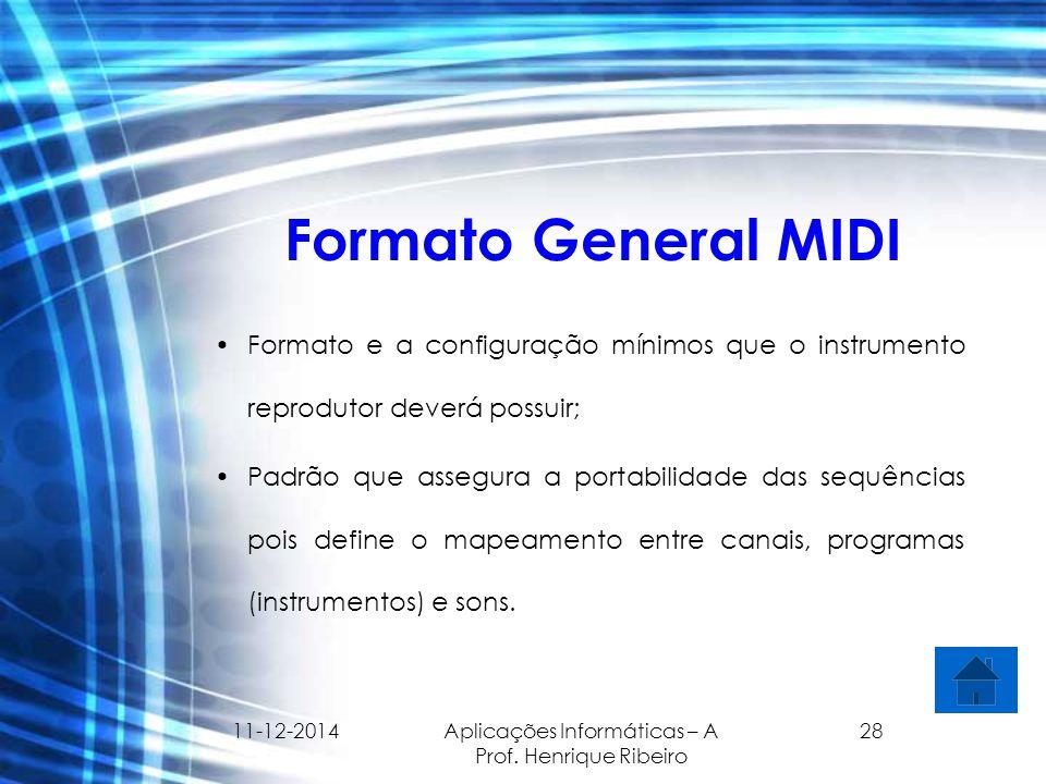 11-12-2014 Aplicações Informáticas – A Prof. Henrique Ribeiro 28 Formato General MIDI Formato e a configuração mínimos que o instrumento reprodutor de