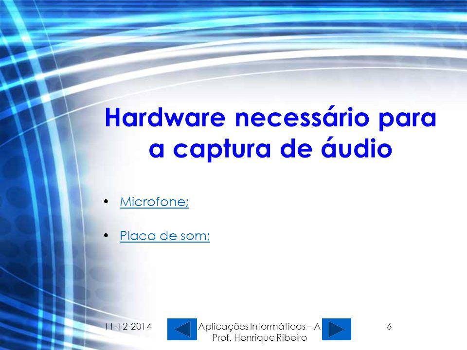 11-12-2014 Aplicações Informáticas – A Prof. Henrique Ribeiro 6 Hardware necessário para a captura de áudio Microfone; Placa de som;Placa de som;