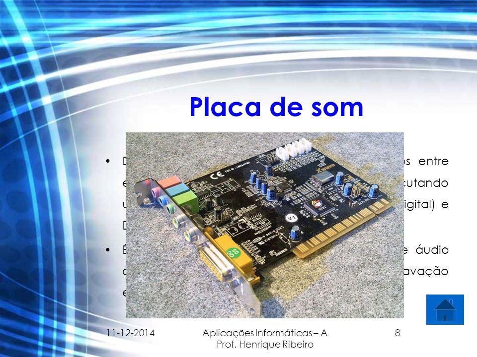 11-12-2014 Aplicações Informáticas – A Prof. Henrique Ribeiro 8 Placa de som Dispositivo que envia e recebe sinais sonoros entre equipamentos de som e