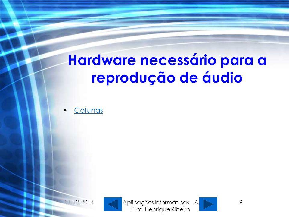 11-12-2014 Aplicações Informáticas – A Prof. Henrique Ribeiro 9 Hardware necessário para a reprodução de áudio Colunas