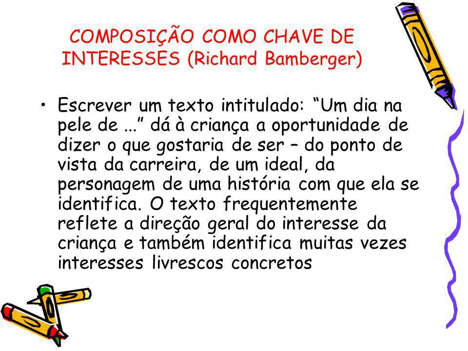"""COMPOSIÇÃO COMO CHAVE DE INTERESSES (Richard Bamberger) Escrever um texto intitulado: """"Um dia na pele de..."""" dá à criança a oportunidade de dizer o qu"""