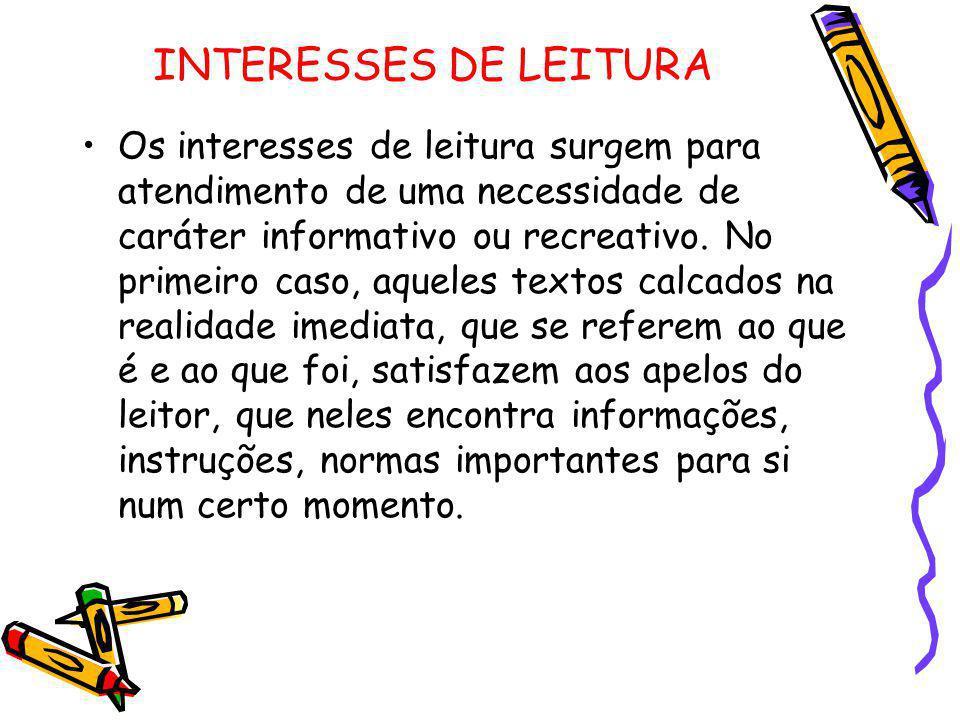 INTERESSES DE LEITURA Os interesses de leitura surgem para atendimento de uma necessidade de caráter informativo ou recreativo. No primeiro caso, aque