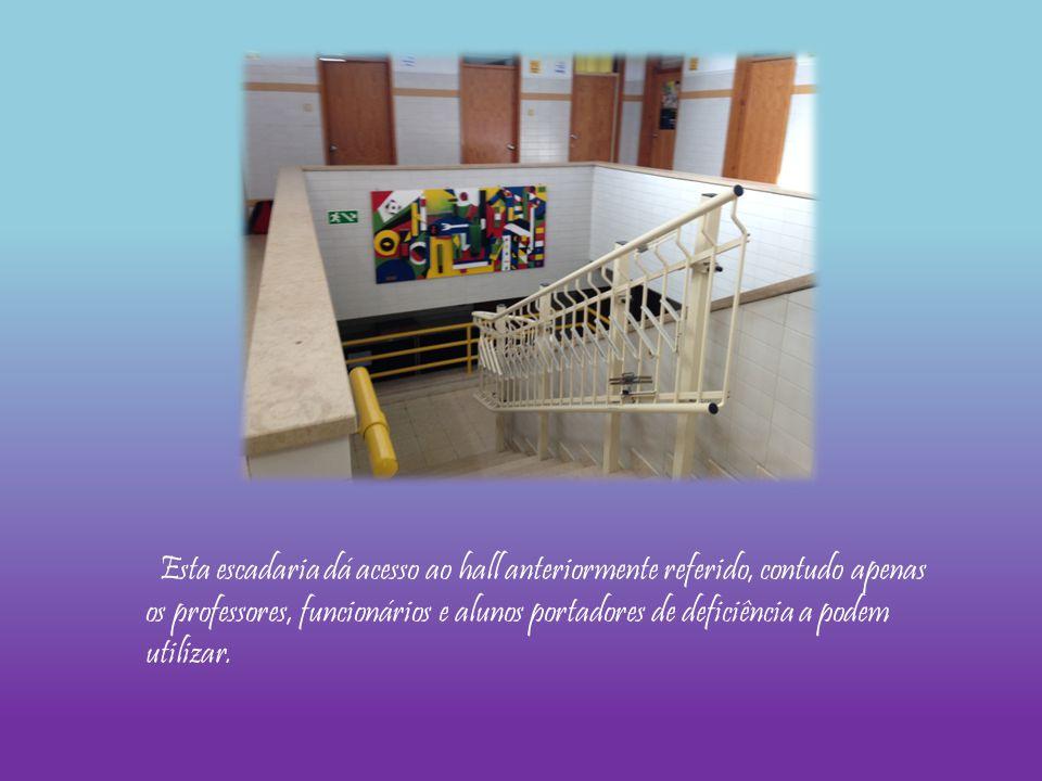 Esta escadaria dá acesso ao hall anteriormente referido, contudo apenas os professores, funcionários e alunos portadores de deficiência a podem utiliz