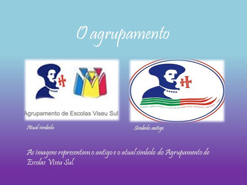 As imagens representam o antigo e o atual símbolo do Agrupamento de Escolas Viseu Sul. O agrupamento Atual símbolo Símbolo antigo