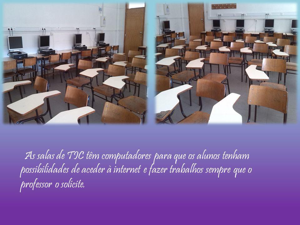 As salas de TIC têm computadores para que os alunos tenham possibilidades de aceder à internet e fazer trabalhos sempre que o professor o solicite.