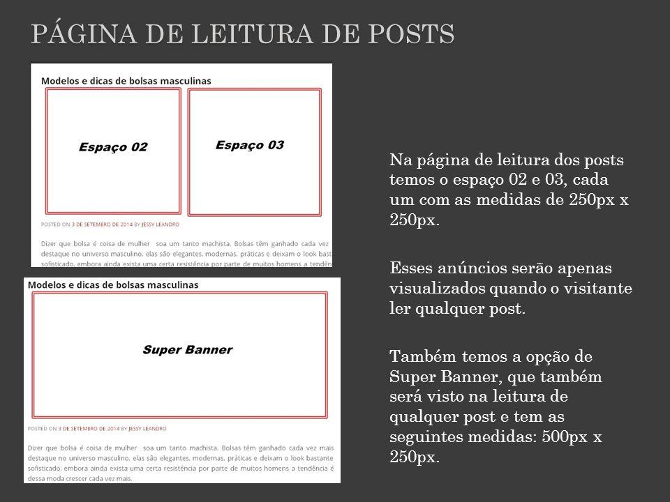 PÁGINA DE LEITURA DE POSTS Na página de leitura dos posts temos o espaço 02 e 03, cada um com as medidas de 250px x 250px.
