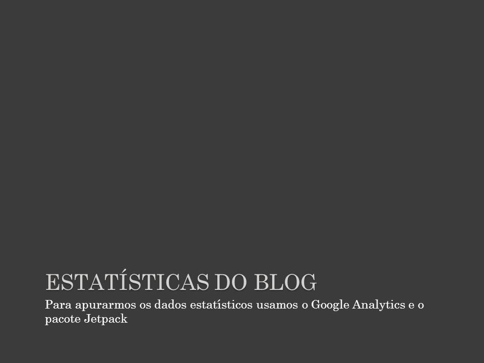 ESTATÍSTICAS DO BLOG Para apurarmos os dados estatísticos usamos o Google Analytics e o pacote Jetpack