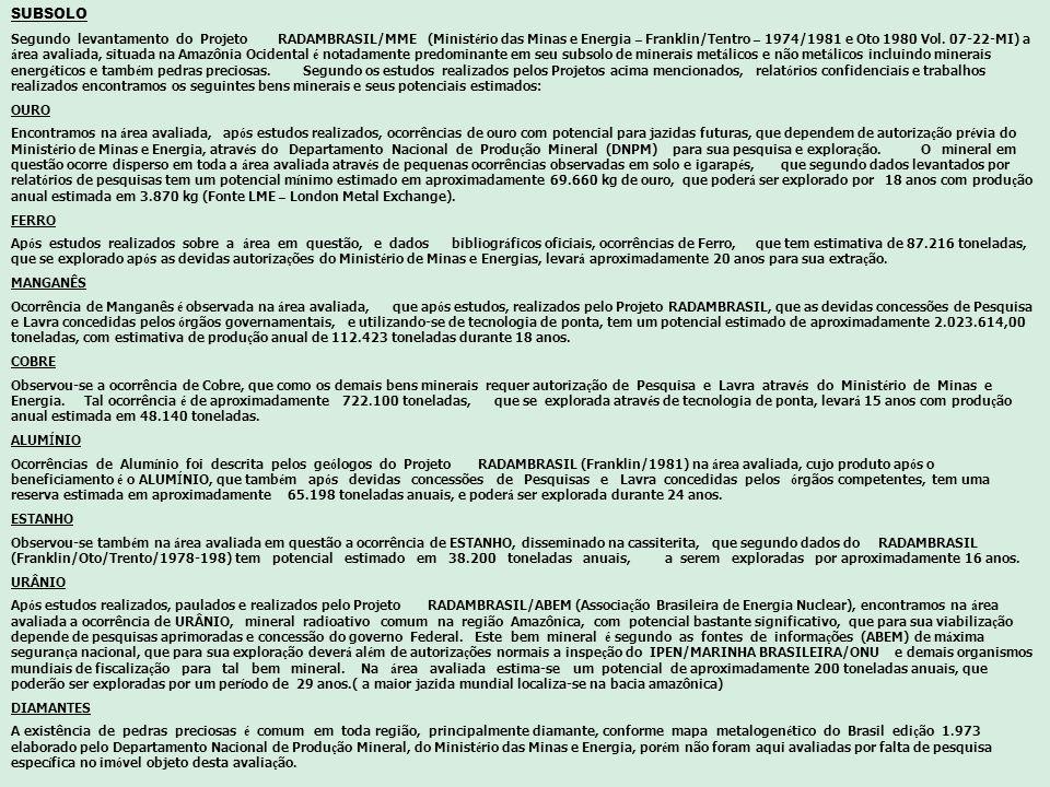 SUBSOLO Segundo levantamento do Projeto RADAMBRASIL/MME (Minist é rio das Minas e Energia – Franklin/Tentro – 1974/1981 e Oto 1980 Vol. 07-22-MI) a á