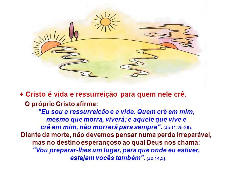 + Cristo é vida e ressurreição para quem nele crê.