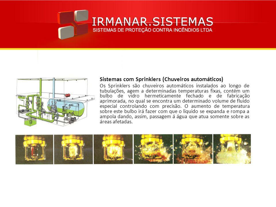 Sistemas com Sprinklers (Chuveiros automáticos) Os Sprinklers são chuveiros automáticos instalados ao longo de tubulações, agem a determinadas tempera