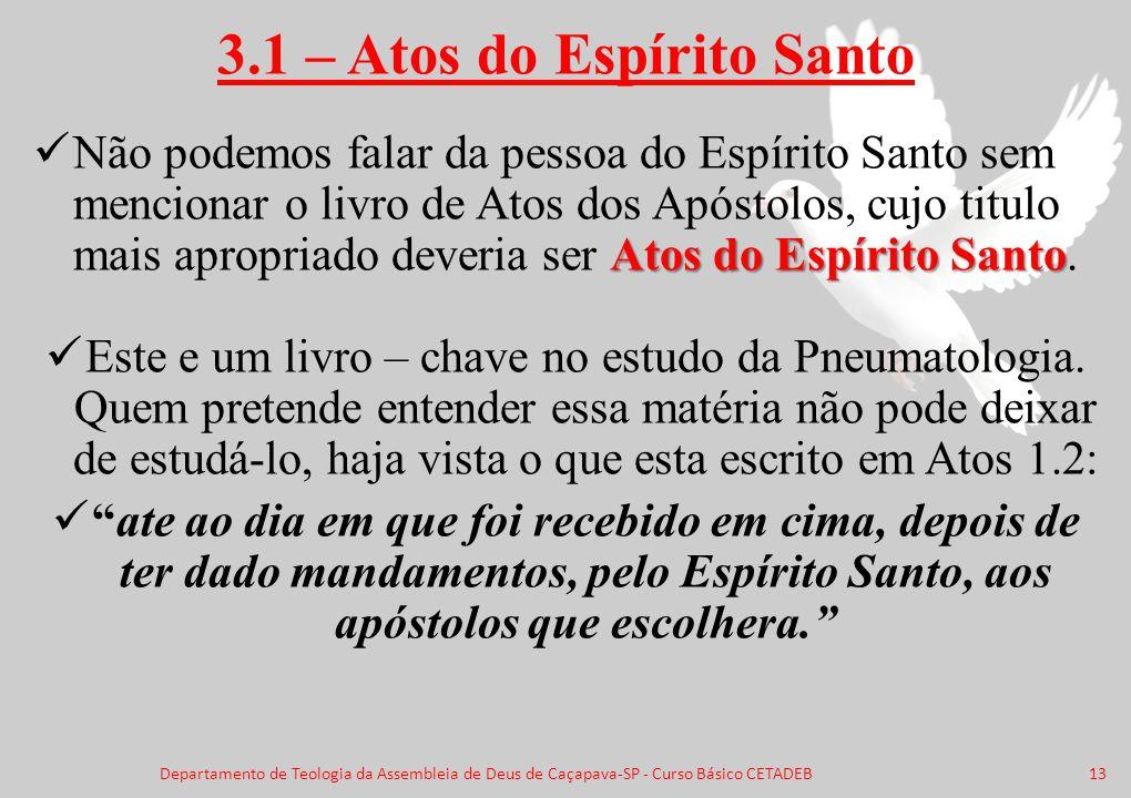 3.1 – Atos do Espírito Santo Atos do Espírito Santo Não podemos falar da pessoa do Espírito Santo sem mencionar o livro de Atos dos Apóstolos, cujo ti