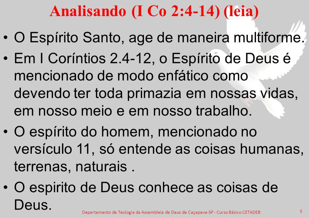 Analisando (I Co 2:4-14) (leia) O Espírito Santo, age de maneira multiforme. Em I Coríntios 2.4-12, o Espírito de Deus é mencionado de modo enfático c