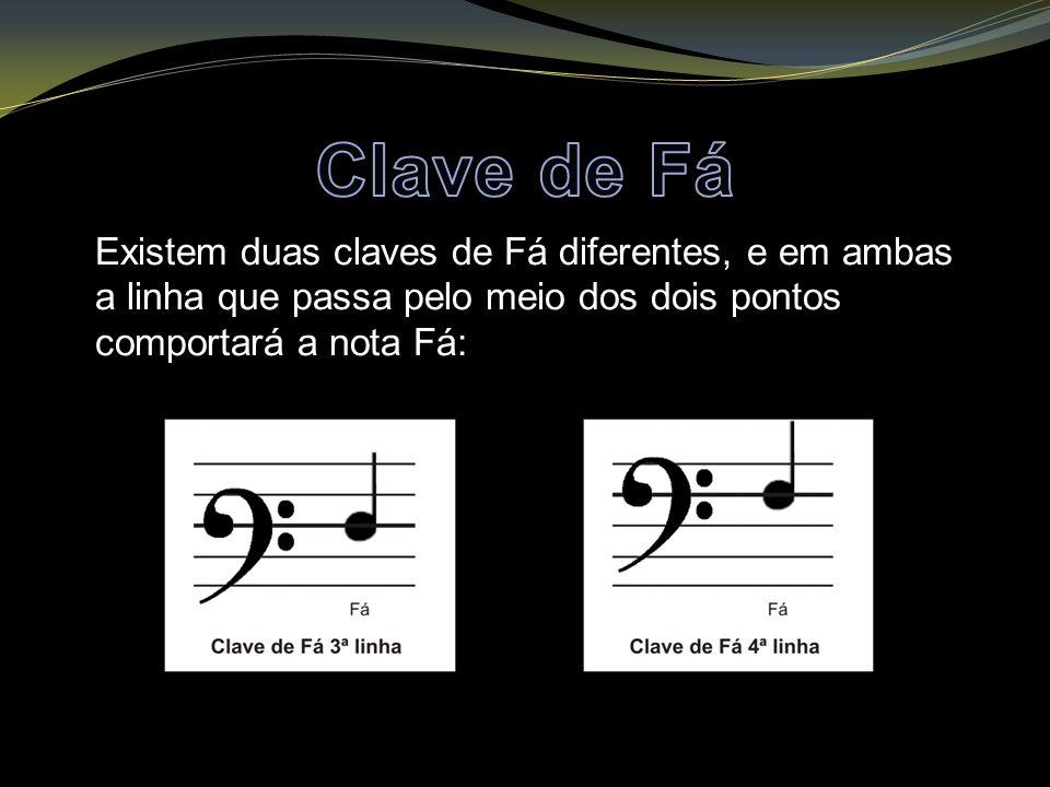 Existem duas claves de Fá diferentes, e em ambas a linha que passa pelo meio dos dois pontos comportará a nota Fá:
