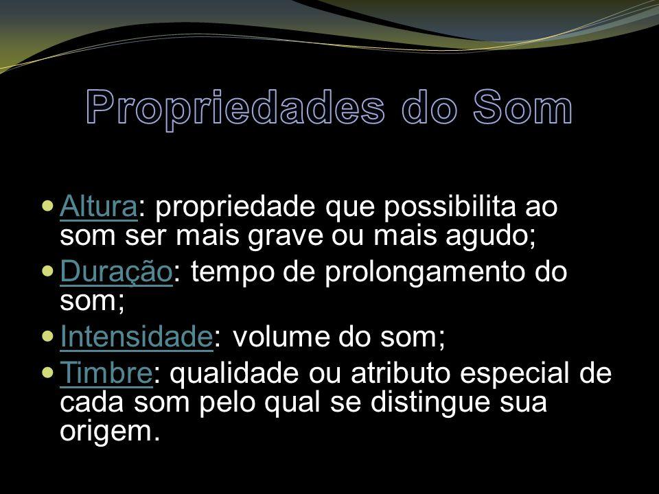 Altura: propriedade que possibilita ao som ser mais grave ou mais agudo; Duração: tempo de prolongamento do som; Intensidade: volume do som; Timbre: q