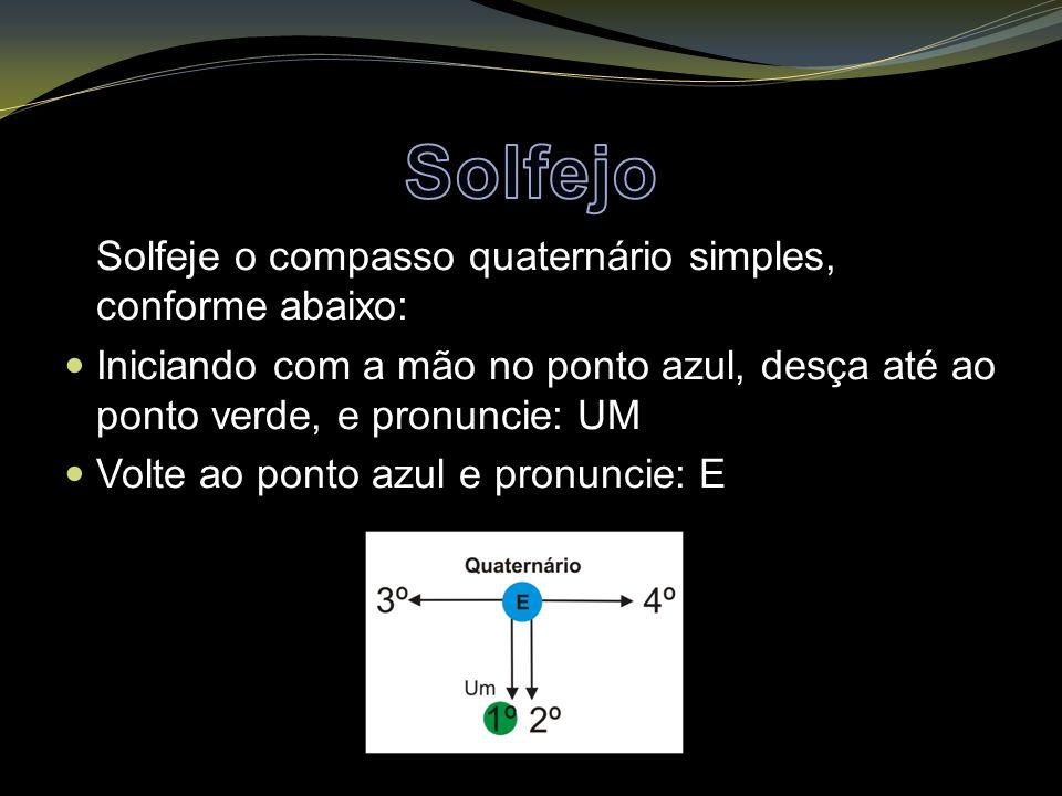 Solfeje o compasso quaternário simples, conforme abaixo: Iniciando com a mão no ponto azul, desça até ao ponto verde, e pronuncie: UM Volte ao ponto azul e pronuncie: E