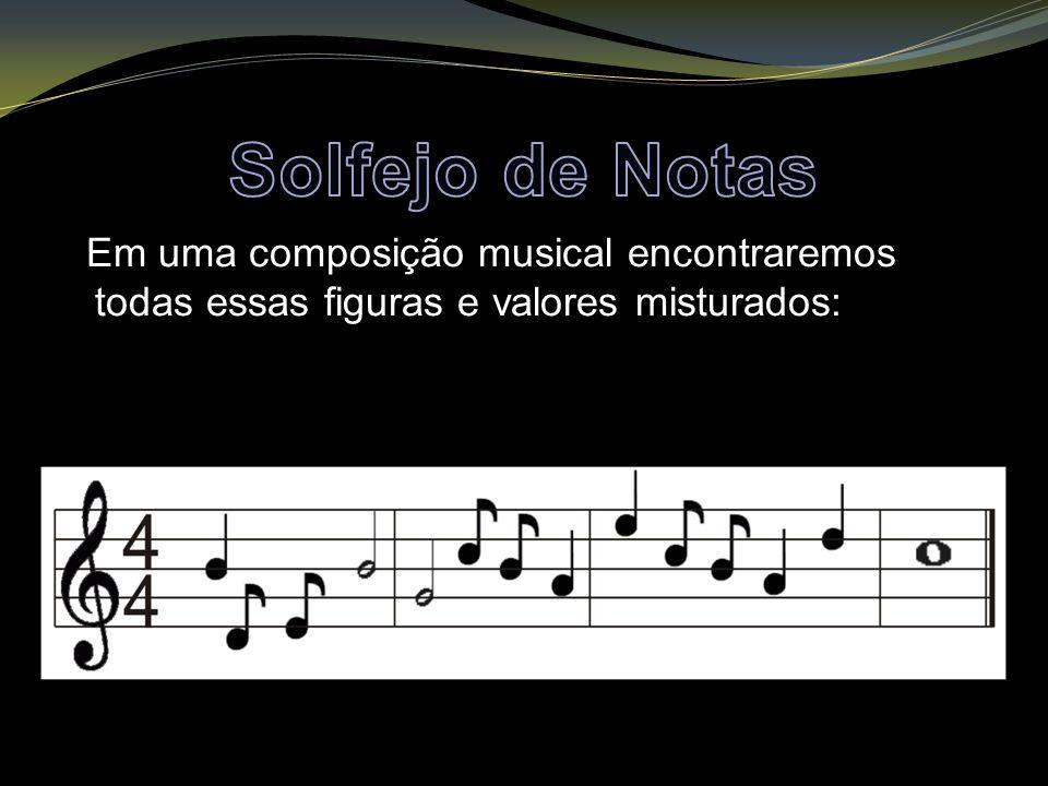 Em uma composição musical encontraremos todas essas figuras e valores misturados: