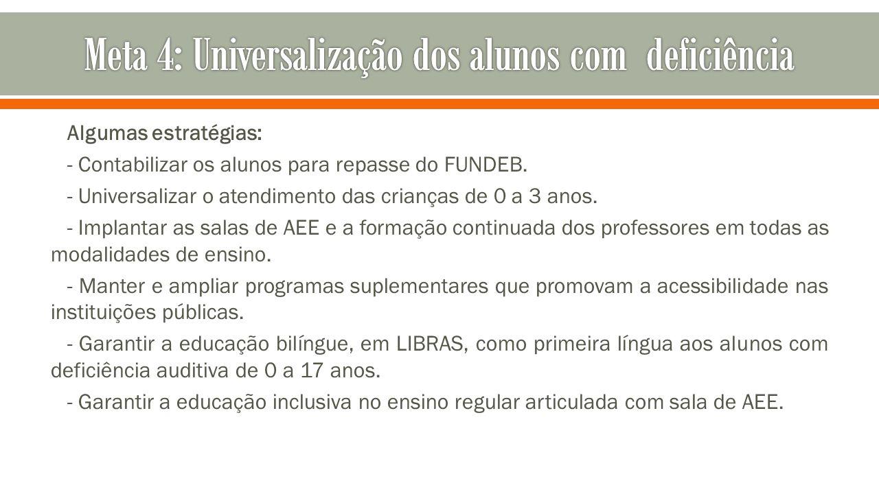 Algumas estratégias: - Contabilizar os alunos para repasse do FUNDEB. - Universalizar o atendimento das crianças de 0 a 3 anos. - Implantar as salas d