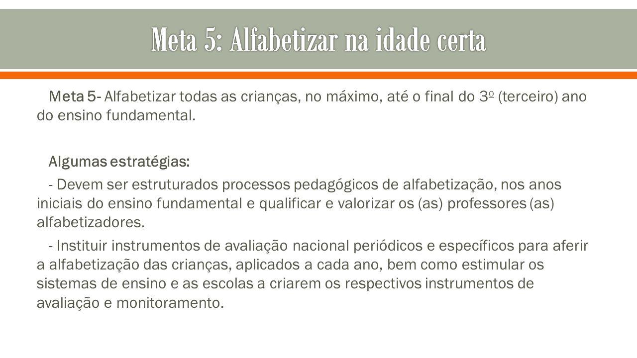 Meta 5- Alfabetizar todas as crianças, no máximo, até o final do 3 o (terceiro) ano do ensino fundamental. Algumas estratégias: - Devem ser estruturad