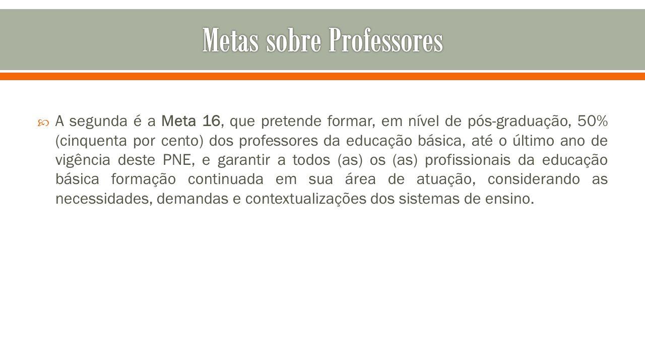  A segunda é a Meta 16, que pretende formar, em nível de pós-graduação, 50% (cinquenta por cento) dos professores da educação básica, até o último an